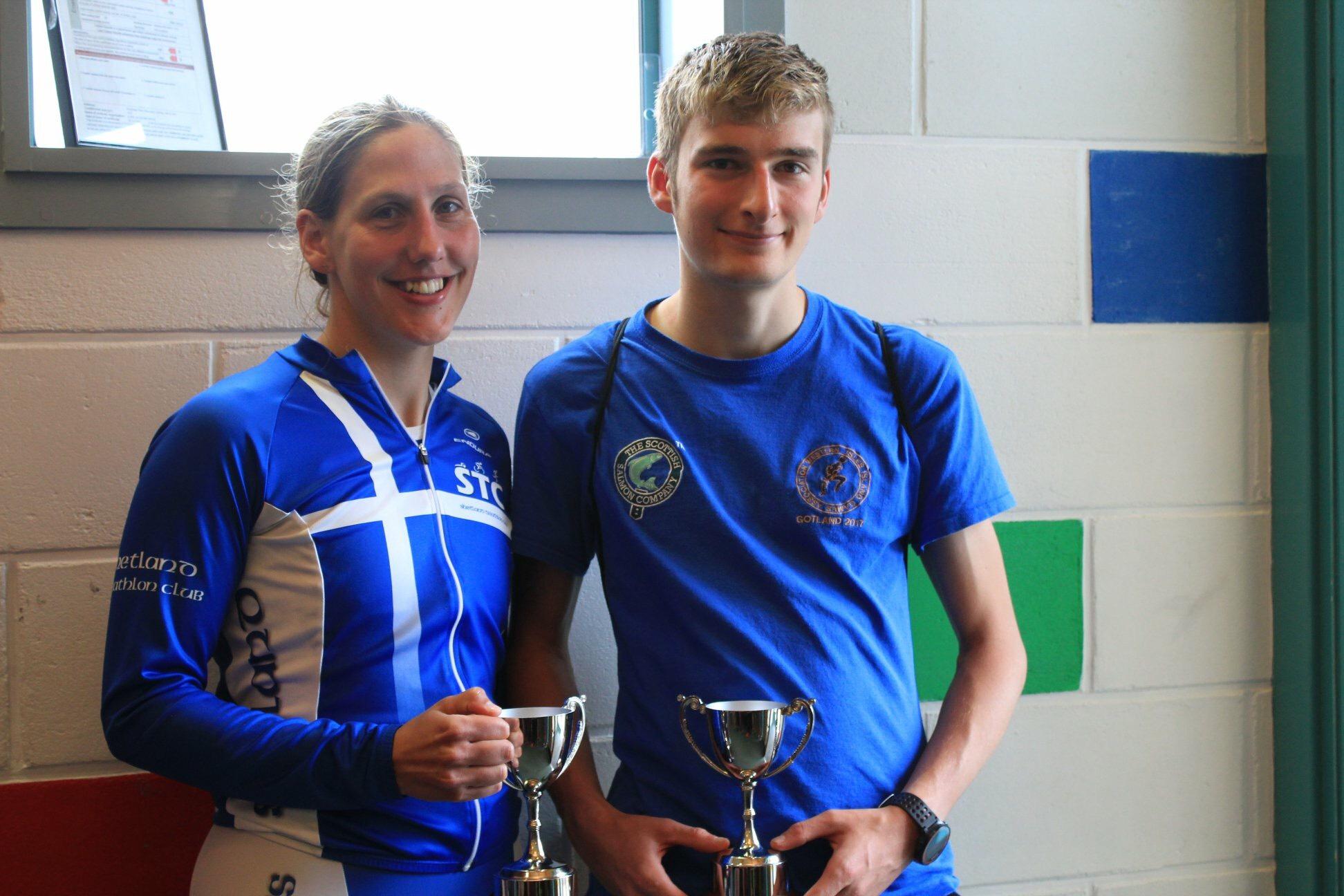 Stromness sprint triathlon winners Lyndsey Henderson and Paul Kerr